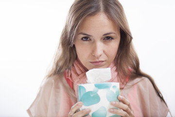 Unhappy young woman with the flu