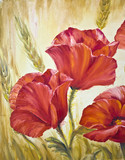Fototapety Poppies in wheat, oil painting on canvas