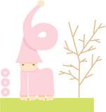 Strange cute alienated creature in pink colour