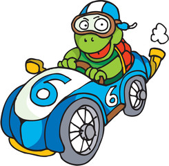 A tortoise is driving is an old race car