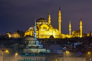 Suleymaniye Mosque night view, Istanbul, Turkey