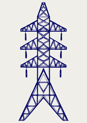 Electric pole. Doodle style
