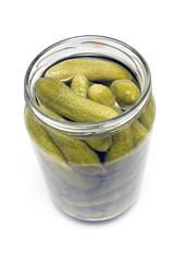 Pickled cucumbers in jar