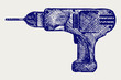 Cordless drill. Doodle style