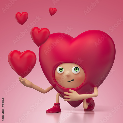 red heart cartoon proposing. Valentine Day greeting