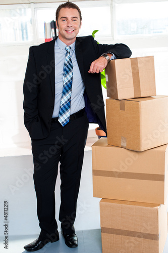 Full length portrait of handsome businessman