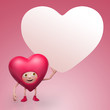 Valentine heart cartoon character holding banner