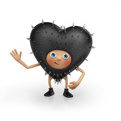 playful black heart cartoon isolated on white background