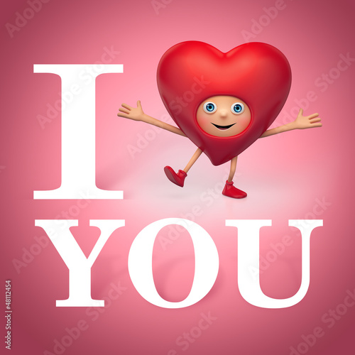 Valentine heart cartoon greeting. i love you
