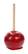 Red candied apple coated with sugar glaze