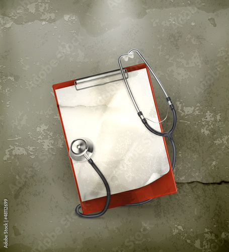 Clipboard with stethoscope, old-style vector