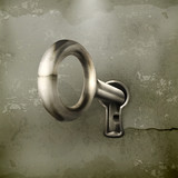 Key in keyhole, old-style