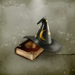 Wizard hat and old book, old-style