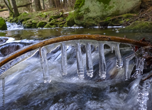 a brook with icicles - early spring