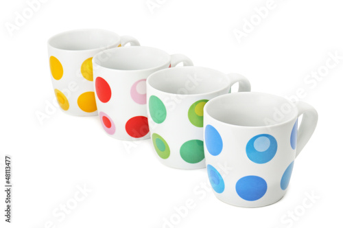 Cups isolated on white background