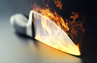 Burning professional kitchen knife