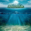 Leinwanddruck Bild - Alone island in the ocean, abstract natural backgrounds