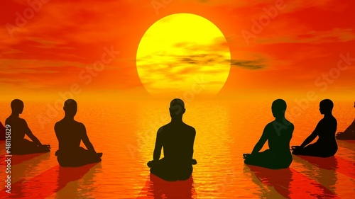 Sunset meditation - 3D render