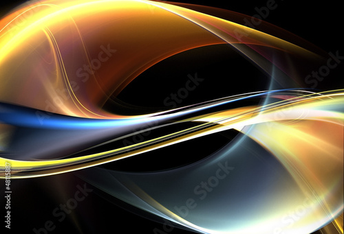 Awesome gold and blue waves on black background