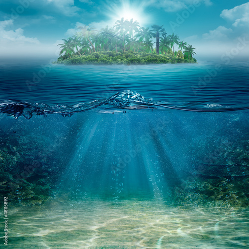 Alone island in the ocean, abstract natural backgrounds