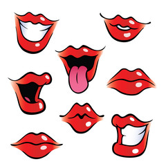 Collection of female mouths with glossy lips.