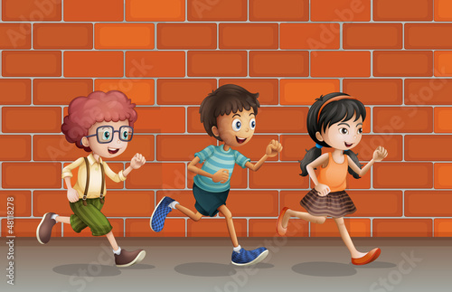 Kids running near wall