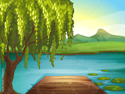 A river and a wooden bench