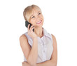 business woman with phone on white background