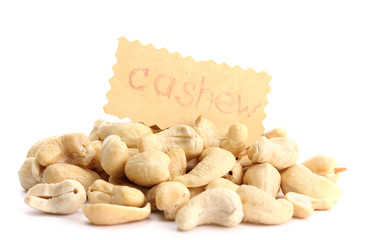 tasty cashew nuts, isolated on white