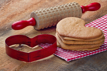 Homemade gingerbread cookies in heart shape