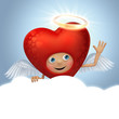 funny red angel heart cartoon holding message balloon
