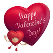 happy Valentine's Day funny red heart cartoon