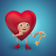 red Valentine's day cartoon heart holding golden key