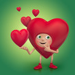 cute shy red heart cartoon character smiling