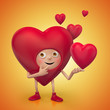 funny cute Valentine cartoon heart character