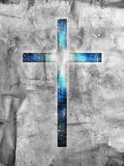 dark cross on dark background