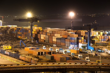 night industrial port