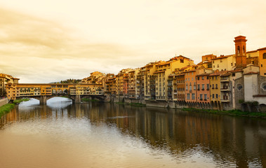 Ponte Vecchio bridge across Arno river in Florence, Italy