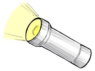 hand drawn, cartoon, sketch illustration of metallic flashlight