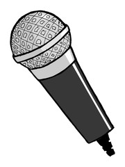 hand drawn, cartoon, vector illustration of microphone