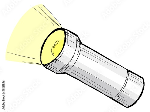 hand drawn, cartoon, sketch illustration of metallic flashlight