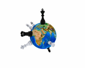 Chess revolve around the world - 3D