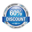 60 percent discount blue button isolated background