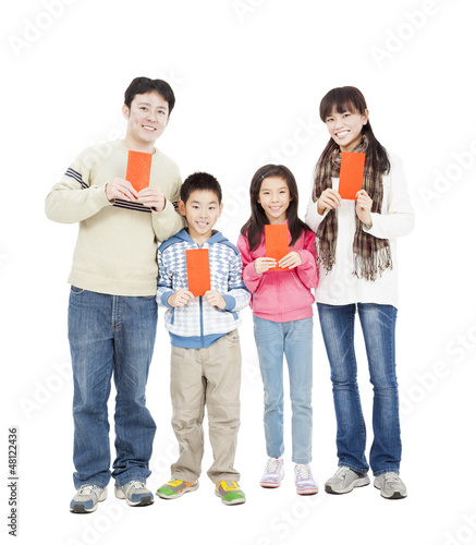 happy chinese new year. happy chinese family holding red envelop