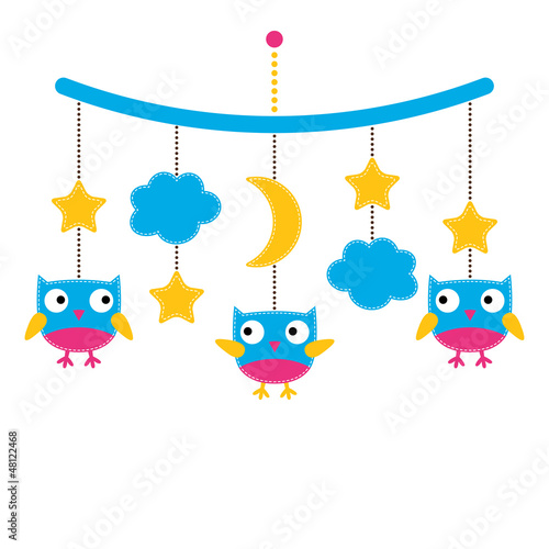Baby arrival or shower card, crib mobile with owls