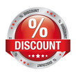 percent discount red silver button isolated background