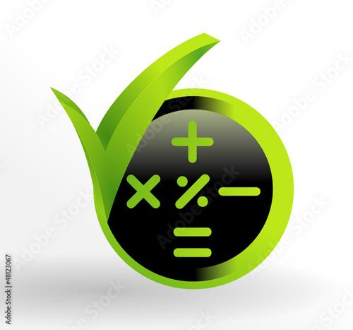 icône calculatrice sur bouton vert et noir