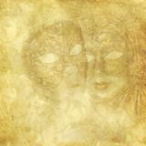 Vintage Venetian Masks on golden floral background - 48123264