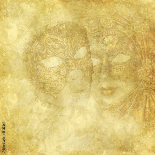 Vintage Venetian Masks on golden floral background