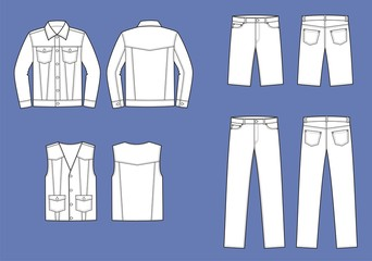 Vector illustration of men's jean's clothes